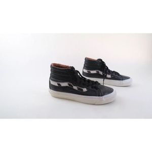 Vans black leather faux fur SK8 sample sneakers
